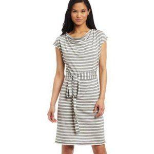 Icebreaker Pizzario Medium Grey Cream Stripe Merino Wool Belted Cowl Neck Dress